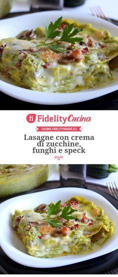Lasagne con crema di zucchine, funghi e speck Cannelloni, Best Italian Recipes, Cooking Recipes, Healthy Recipes, Chicken Wing Recipes, Ravioli, Crepes, Summer Recipes, Food Inspiration