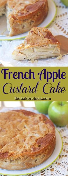 French Apple Custard Cake -- thinly sliced apples covered in a custard batter… Apple Desserts, Apple Recipes, Just Desserts, Cake Recipes, Dessert Recipes, Apple Cakes, Apple Torte, Dessert Ideas, Sweet Recipes