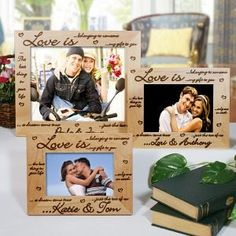 Personalized Engraved Love Is...Wedding Wood Picture Frame