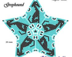 3D PEYOTE STAR Beading Pattern/Tutorial GREYHOUND/Whippet + Basic Instructions