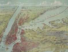 Bird's eye view map of New York and vicinity drawn and printed by C.S. Hammond and Co. Public domain