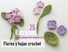 25 motivos de flores para tejer con ganchillo con diagramas