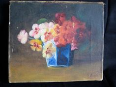 Floral Oil Painting Signed by F. Fenetty – Pansy Bouquet in a Blue Chinese Porcelain Vase or Cachepot