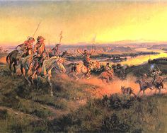 Salute - Charles Marion Russell (b. 1864, Oak Hill, Missouri - d. 1926, Great Falls, Montana), also known as C.M. Russell, was one of the great artists of the American West. Russell created more than 2,000 paintings of cowboys, Indians, and landscapes set in the Western United States, in addition to bronze sculptures. His mural entitled Lewis and Clark Meeting the Flathead Indians hangs in the state capitol building in Helena, Montana.