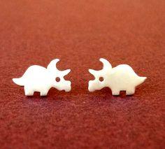 Dinosaur Earrings Dino Studs Triceratops Earrings by zoozjewelry