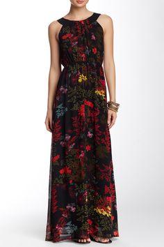 Pritned Pleated Yoke Maxi Dress by Lavand on @HauteLook