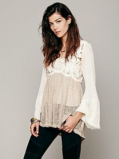 Cutwork Pieced Tunic. I like the cut and color, the subtle textures and longer length, and LOVE bell sleeves!