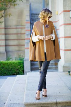 A camel cape is perfect for cold weather
