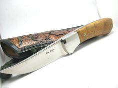 Dan Lozier Custom Hunter Knife Fixed Blade with Burl Handle Plus Leather Sheath Collectible Knives, Fixed Blade Knife, Dan, Handle, Leather, Collector Knives, Door Knob