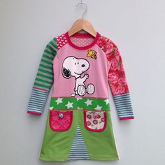 Upcycled girls dress with Snoopy print and pockets. by dressme