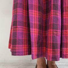 Sun valley コットンチェック オーバーダイ*マキシスカート(PK) Everything Pink, Hand Weaving, Fabrics, Girly, Plaid, Check, Skirts, Pattern, Inspiration