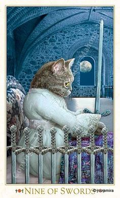 "9 d'épées - Tarot baroque ""les chats bohèmes"" par Karen Mahony & Alex Ukolov"