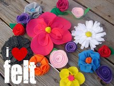 how to make felt flowers- oh, the possibilities... gift toppers, wreaths, decorations, etc.