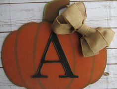Fall Door Hanger Pumpkin Thanksgiving decorations Halloween Door Hanger Fall Wall Hanger Wall Letter Initial Monogram by SouthernMadeSigns on Etsy