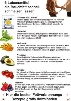 Für ewig schlank: 6 Lebensmittel die Bauchfett schnell schmelzen las… For ever slim: 6 foods that quickly melt belly fat … 12 foods that burn belly fat fastThese 10 healthy foods to burn belly fat are all foods that burn belly fat How To Stop Cravings, Melt Belly Fat, Belly Belly, Slim Belly, Abdominal Fat, Weight Loss Detox, Fat Burning Foods, Detox Recipes, Diet And Nutrition