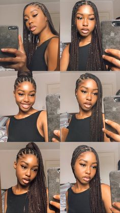 Box Braids Hairstyles For Black Women, African Braids Hairstyles, Braids For Black Women, Braids For Black Hair, Straight Hairstyles, Braid Hairstyles, Hairstyle Ideas, Black Girl Natural Hairstyles, Black Hairstyle