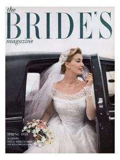 Published February 1, 1953 ... Photographer William Helburn photographed this classic 1950's image that features a glamorous bride in a wasp waist wedding dress alighting from a chauffered car. The cover appeared on the Spring 1953 issue of The Bride's magazine.
