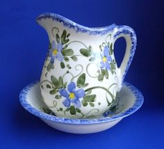 pitcher and basin set | Pitcher and Bowl Set Blue Flowers by Nola
