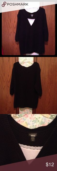 "Sweater Black V-neck sweater with sewn in material to look like a ""cami"". 100% Cotton. Machine wash cold on gentle cycle, tumble dry on low. Good Condition. Lane Bryant Sweaters V-Necks"