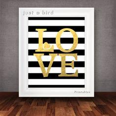 Modern valentine printable Black  white stripes printable, gold love sign printable, love typography, faux gold foil printable, valentine decor