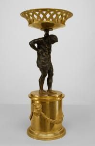 """Pair of French Neo-classic style (mid 19th Cent) bronze tazzas/centerpieces with an Atlas figure supporting a gilt woven basket and raised on a plinth with swags and lion heads Price $22,500.00 22"""" h x 7.25"""" diam"""