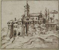 Artist Unknown, Italo-Flemish School - An Italianate Hill-Top Town, 17th Century