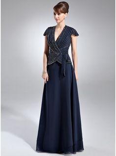 A-Line/Princess V-neck Floor-Length Chiffon Mother of the Bride Dress With Beading
