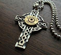 Mens Sterling Silver Celtic Cross Bullet Necklace