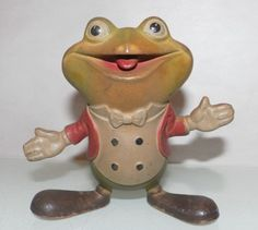 VINTAGE REMPEL Squeak Toy FROG 1948 Grandma had this frog at her house.  I loved him.