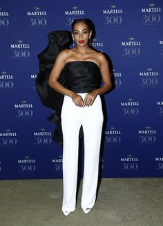 Solange attending the Martell Cognac 300th Anniversary wearing a Stephane Rolland Haute-Couture jumpsuit from the spring summer 2015 collection