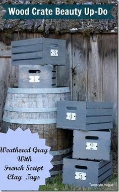 Wood Crate Beautification With Weathered Gray Stain and French Script Clay Tags by Turnstyle Vogue Woodworking Guide, Custom Woodworking, Woodworking Projects Plans, Chicken Coop Pallets, Diy Chicken Coop, Upcycled Crafts, Diy Crafts, Wooden Wine Crates, Gray Stain