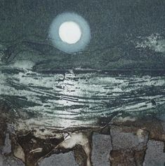 Black Magic Sarah Ross, Collagraph Printmaking, Coastal Paint, Landscape Quilts, Sketch Painting, Black Magic, Night Skies, Fiber Art, Collage Ideas