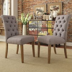 tribecca home benchwright button tufts upholstered rolled back parsons chairs set of overstock shopping great deals on tribecca home dining chairs - Wayfair Dining Chairs