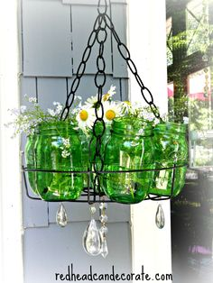 Ball Jar Chandelier by redheadcandecorate.com #chandelier #planter #Balljars
