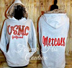 USMC Girlfriend pullover USMC Wife marine by ForeverHisCouture The Few The Proud, Marines Girlfriend, Marine Mom, Usmc, Girlfriends, Graphic Sweatshirt, Pullover, Couture, Trending Outfits