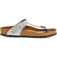 Birkenstock Faux-leather thong sandals ($64) ❤ liked on Polyvore featuring shoes, sandals, silver syn, cork footbed sandals, stretchy shoes, thong sandals, vegan shoes and stretch sandals