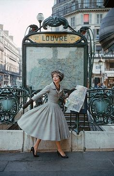 Louvre. Paris, France. Vintage fashion photography