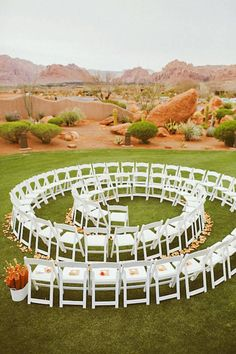 spiral outdoor wedding ceremony seating