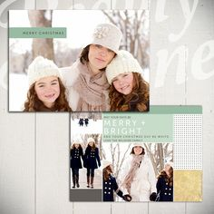 Christmas Card Template: Bright White A - 5x7 Holiday Card Template for Photographers by Beauty Divine Design on Etsy