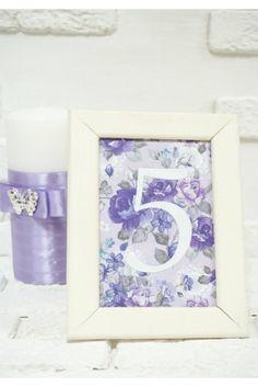Номерок на стол сиреневые цветы
