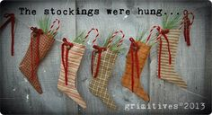 Primitive Christmas Cloth Stockings Holiday