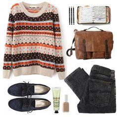 Beige Long Sleeve Striped Cross Pattern Sweater