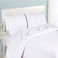 Fashion Street Micro Fiber 4Piece Striped Sheet Set Queen White -- Visit the image link more details.