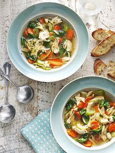 This chicken soup is sure to warm hearts and stomachs. Serve it with our easy recipe for garlic toast.
