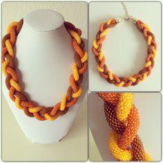 Necklace made of czech beads in bead crochet technique. Handmade
