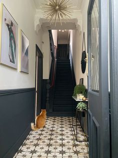 Hallway Decor: First Impressions Count Hallway Colours, Home, House Entrance, Hallway Flooring, Dark Interiors, Hallway Wall Decor, Entrance Hall Decor, Tiled Hallway, Narrow Hallway Decorating