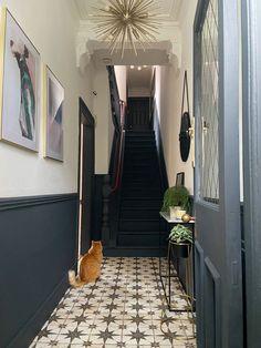 Hallway Decor: First Impressions Count Dark Hallway, Tiled Hallway, Hallway Walls, Hallway Wall Decor, Modern Hallway, Long Hallway, Dado Rail Hallway, Victorian Hallway Tiles, Edwardian Hallway