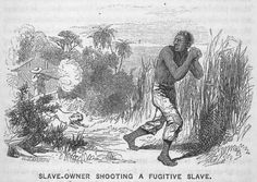 """Creator: Walter George Mason, painter, sketcher, and wood engraver (1820-1866). Engraver. Source: """"Five hundred thousand strokes for freedom; a series of anti-slavery tracts, of which half a million are now first issued by the friends of the Negro."""" -- """"Slave-owner shooting a fugitive slave. (1853)"""""""