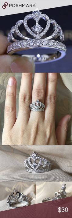 Sterling Silver S925 CZ Diamond Crown Ring Brand new Price firm No trades I do bundle  Ring will not turn your finger green      Stone: Cubic Zirconia      Main Stone Carat Weight: .90ct     Total Carat weight: 1.84ct     Cut: Round Brilliant      Setting: Prong     Metal: Sterling Silver                            Ring box included Jewelry Rings