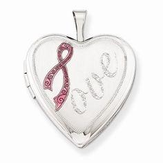 Sterling Silver Satin Pink Ribbon Love Heart Locket